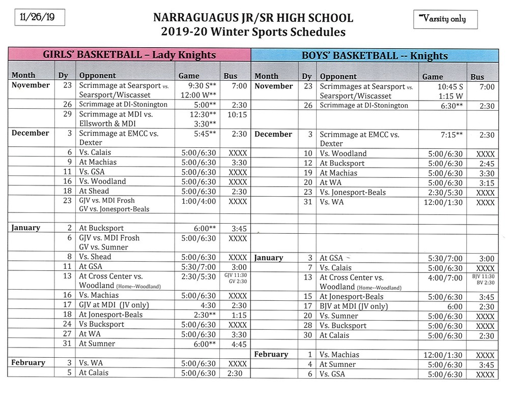 Revised Narraguagus Basketball Schedule