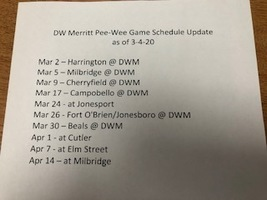 Updated Pee-Wee Basketball Game Schedule