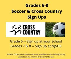 Grades 6-8 Soccer & Cross Country Sign-Ups