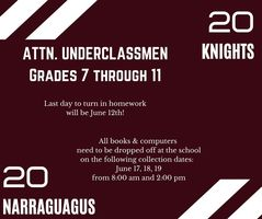 End of Year Dates for Underclassmen