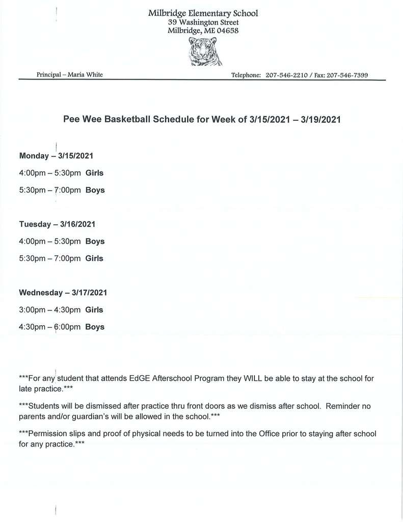 Pee Wee Basketball Schedule