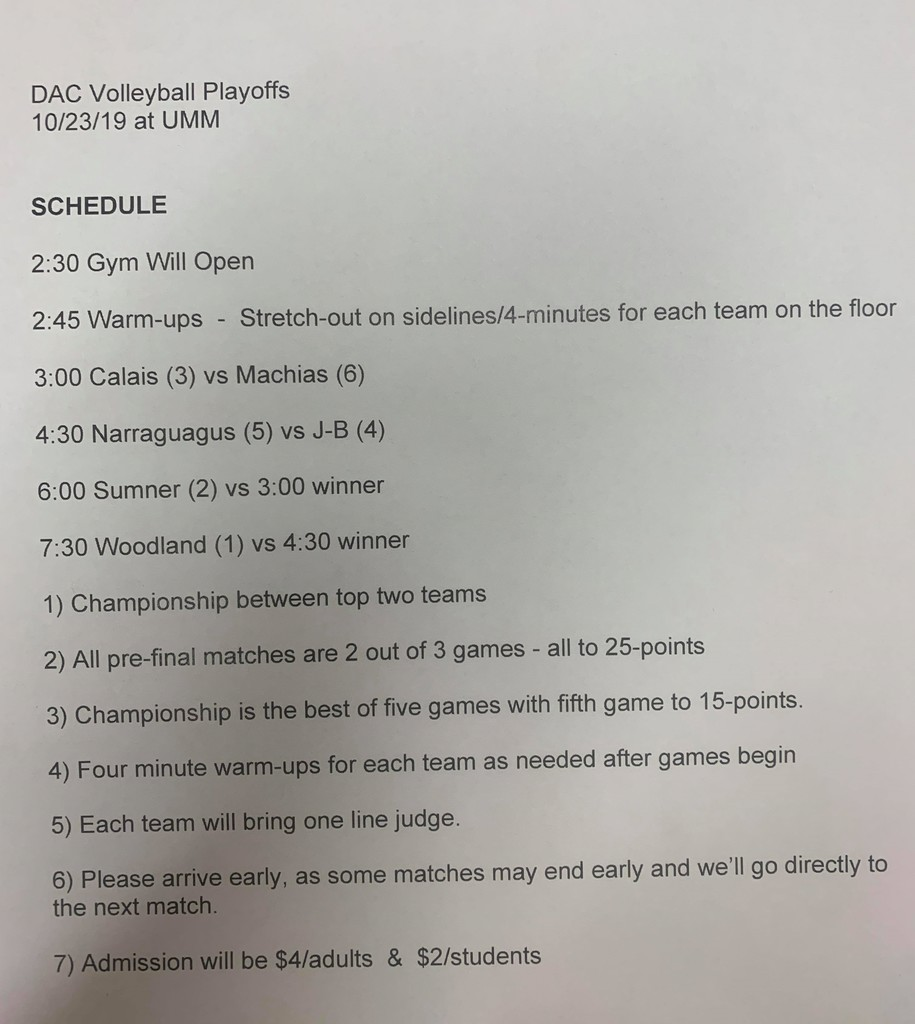 DAC Volleyball Schedule