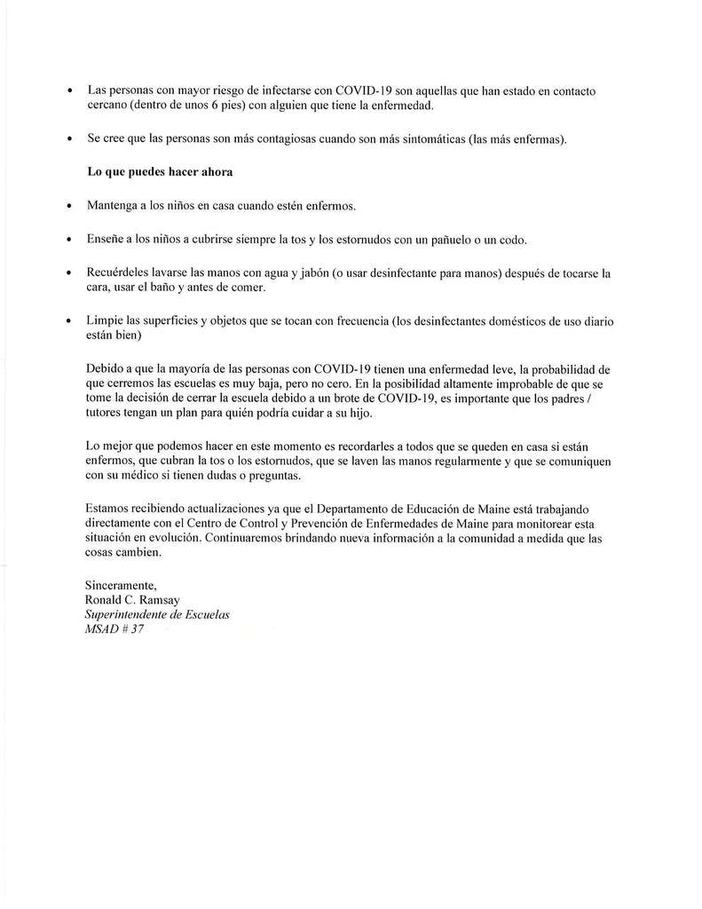 Mr Ramsays letter--Spanish version