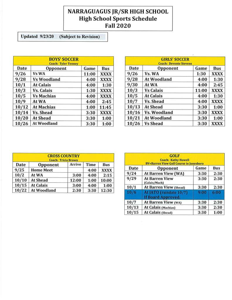 Fall 2020 High School Sports Schedule
